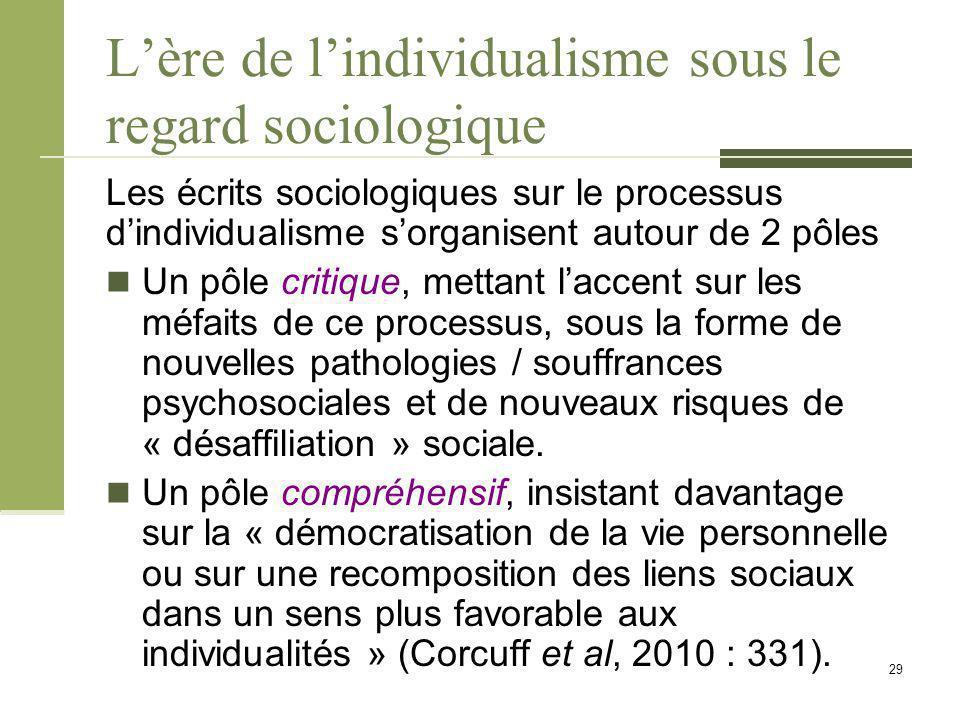 L'ère de l'individualisme sous le regard sociologique Les écrits sociologiques sur le processus d'individualisme s'organisent autour de 2 pôles Un pôle critique, mettant l'accent sur les méfaits de ce processus, sous la forme de nouvelles pathologies / souffrances psychosociales et de nouveaux risques de « désaffiliation » sociale.
