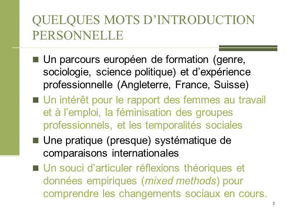 QUELQUES MOTS D'INTRODUCTION PERSONNELLE Un parcours européen de formation (genre, sociologie, science politique) et d'expérience professionnelle (Ang