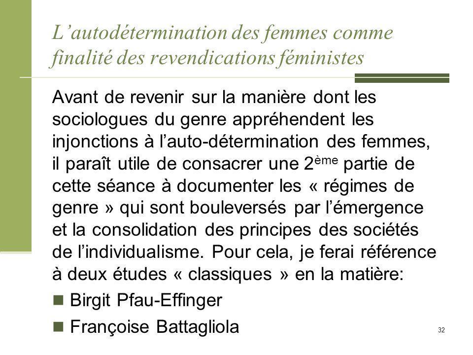 L'autodétermination des femmes comme finalité des revendications féministes Avant de revenir sur la manière dont les sociologues du genre appréhendent