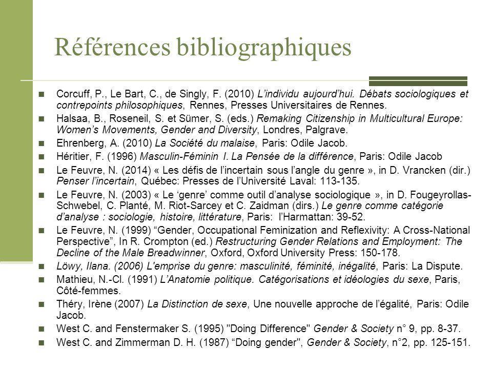 Références bibliographiques Corcuff, P., Le Bart, C., de Singly, F. (2010) L'individu aujourd'hui. Débats sociologiques et contrepoints philosophiques