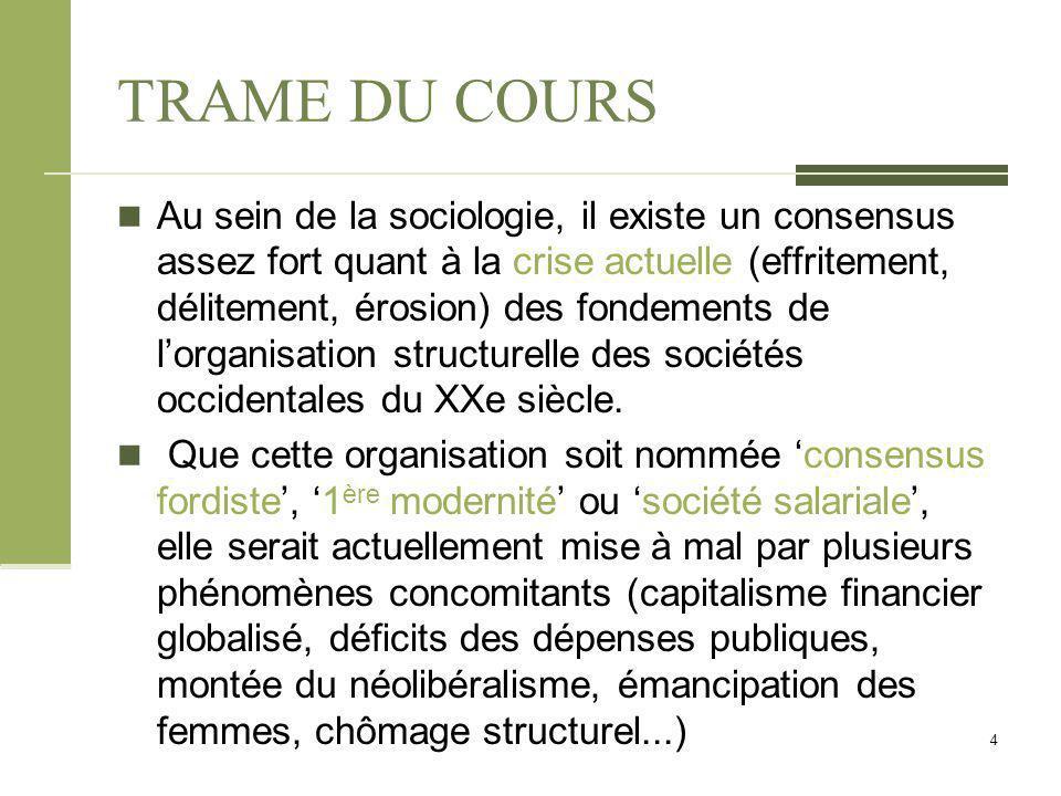TRAME DU COURS Au sein de la sociologie, il existe un consensus assez fort quant à la crise actuelle (effritement, délitement, érosion) des fondements