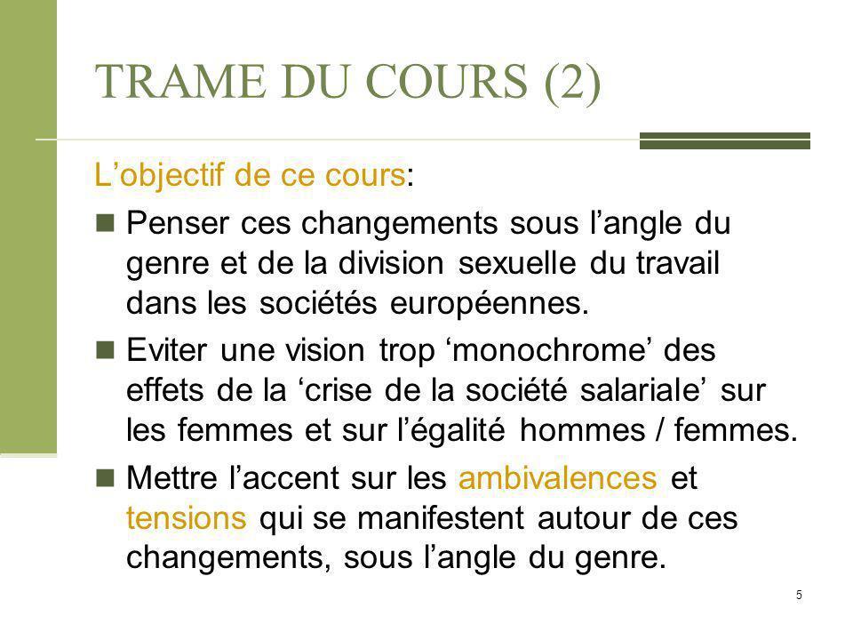 TRAME DU COURS (2) L'objectif de ce cours: Penser ces changements sous l'angle du genre et de la division sexuelle du travail dans les sociétés europé