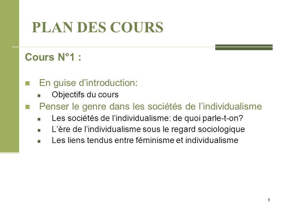PLAN DES COURS Cours N°1 : En guise d'introduction: Objectifs du cours Penser le genre dans les sociétés de l'individualisme Les sociétés de l'individualisme: de quoi parle-t-on.