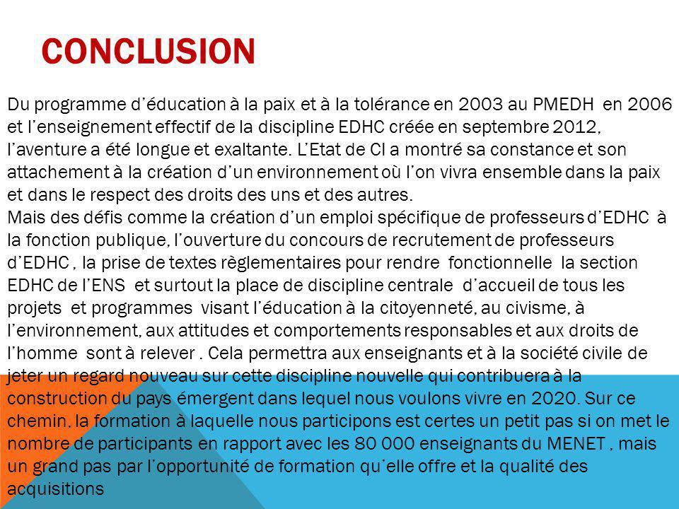 CONCLUSION Du programme d'éducation à la paix et à la tolérance en 2003 au PMEDH en 2006 et l'enseignement effectif de la discipline EDHC créée en sep
