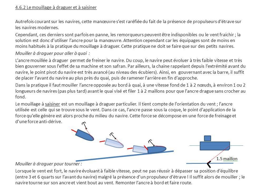 4.6.2 Le mouillage à draguer et à saisiner Autrefois courant sur les navires, cette manœuvre s'est raréfiée du fait de la présence de propulseurs d'ét