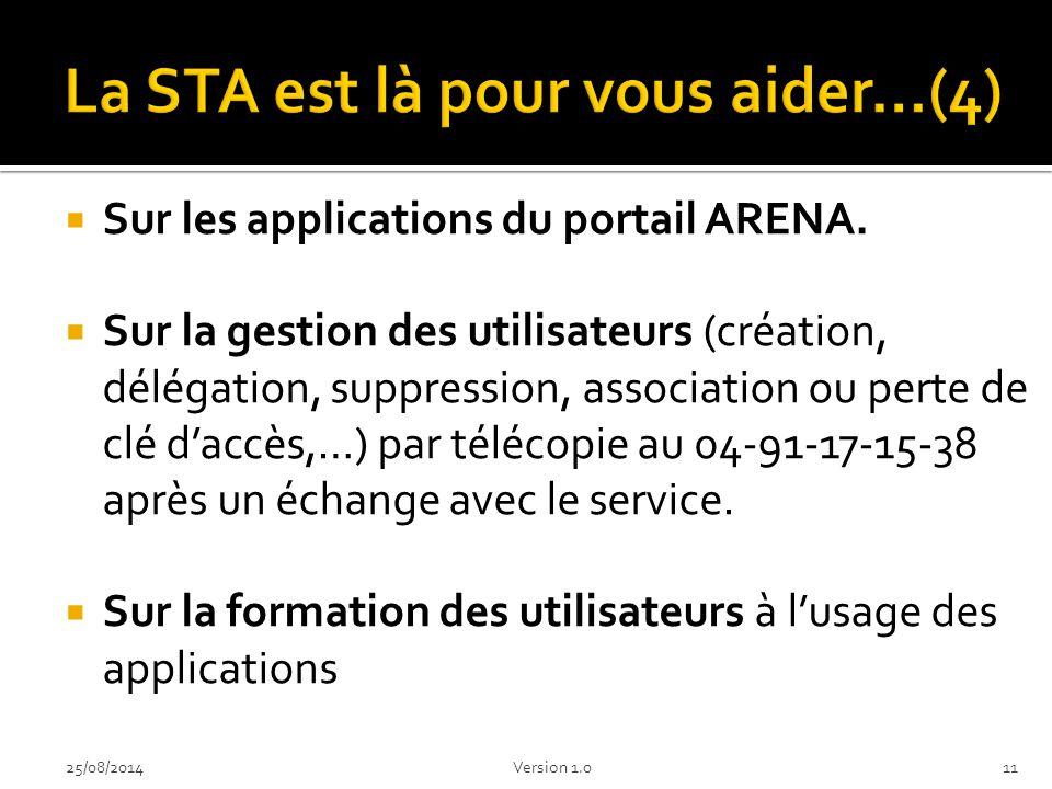  Sur les applications du portail ARENA.