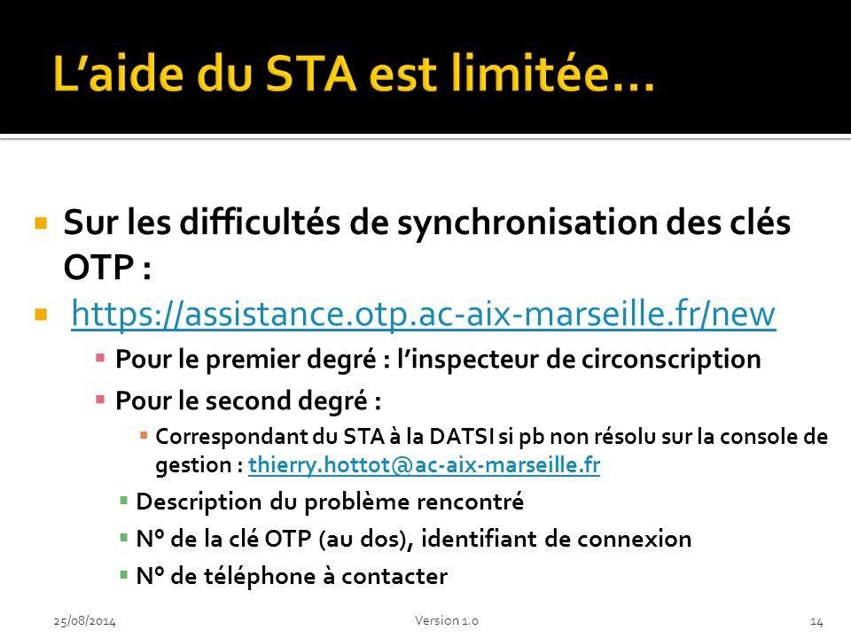  Sur les difficultés de synchronisation des clés OTP :  https://assistance.otp.ac-aix-marseille.fr/newhttps://assistance.otp.ac-aix-marseille.fr/new  Pour le premier degré : l'inspecteur de circonscription  Pour le second degré :  Correspondant du STA à la DATSI si pb non résolu sur la console de gestion : thierry.hottot@ac-aix-marseille.frthierry.hottot@ac-aix-marseille.fr  Description du problème rencontré  N° de la clé OTP (au dos), identifiant de connexion  N° de téléphone à contacter 1425/08/2014Version 1.0