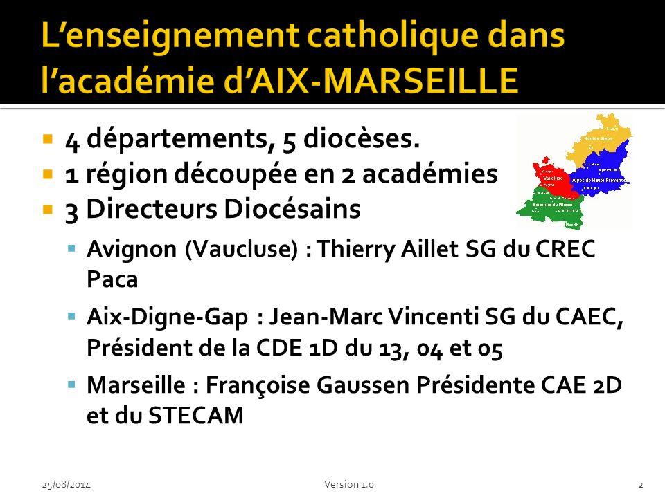  4 départements, 5 diocèses.