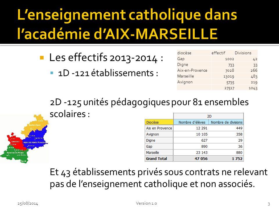  Les effectifs 2013-2014 :  1D -121 établissements : 2D-125 unités pédagogiques pour 81 ensembles scolaires : Et 43 établissements privés sous contrats ne relevant pas de l'enseignement catholique et non associés.