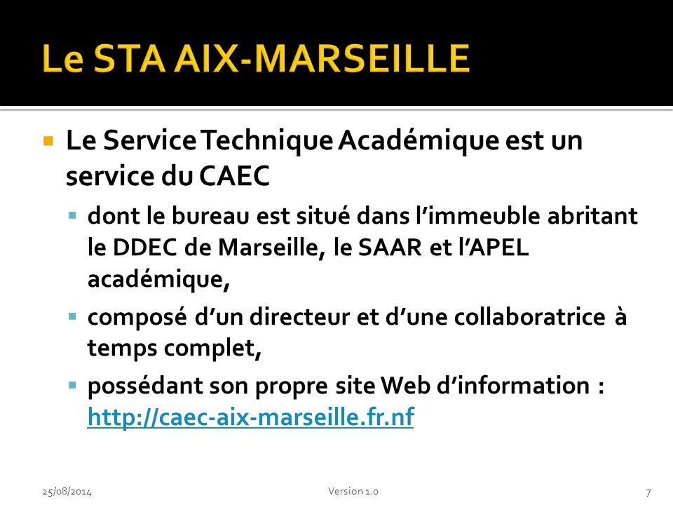  Le Service Technique Académique est un service du CAEC  dont le bureau est situé dans l'immeuble abritant le DDEC de Marseille, le SAAR et l'APEL académique,  composé d'un directeur et d'une collaboratrice à temps complet,  possédant son propre site Web d'information : http://caec-aix-marseille.fr.nf http://caec-aix-marseille.fr.nf 725/08/2014Version 1.0