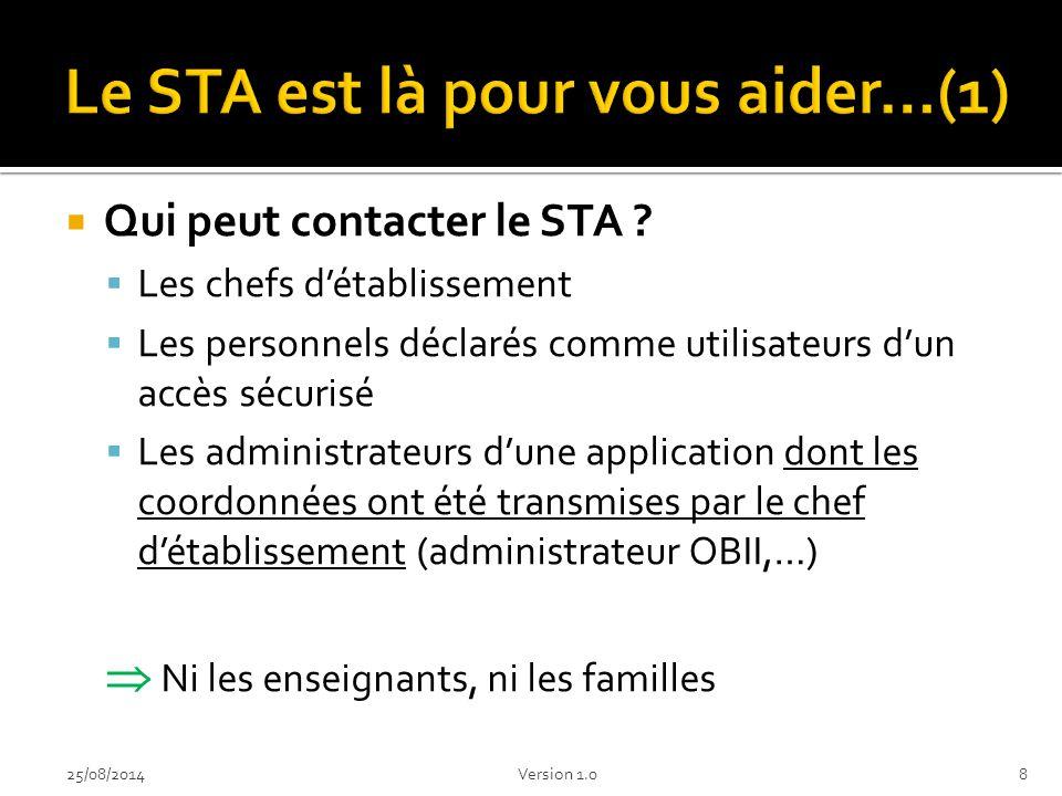  Comment contacter le STA .