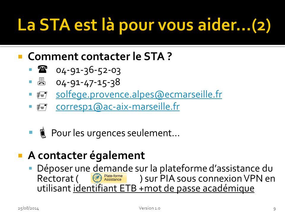  Comment permettre au STA de vous aider efficacement .