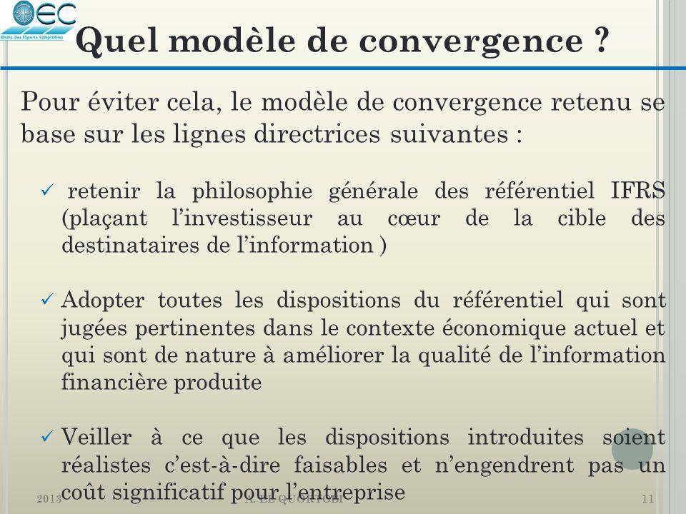 2013 A. EL QUORTOBI11 Pour éviter cela, le modèle de convergence retenu se base sur les lignes directrices suivantes : retenir la philosophie générale