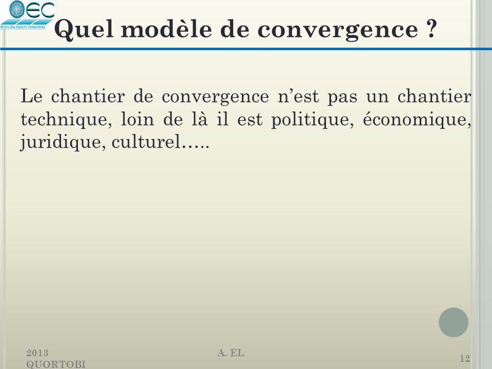 2013 A. EL QUORTOBI 12 Le chantier de convergence n'est pas un chantier technique, loin de là il est politique, économique, juridique, culturel….. Que