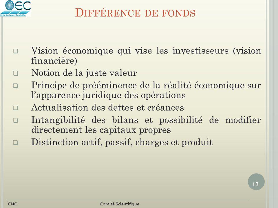 17 CNC Comité Scientifique D IFFÉRENCE DE FONDS  Vision économique qui vise les investisseurs (vision financière)  Notion de la juste valeur  Princ