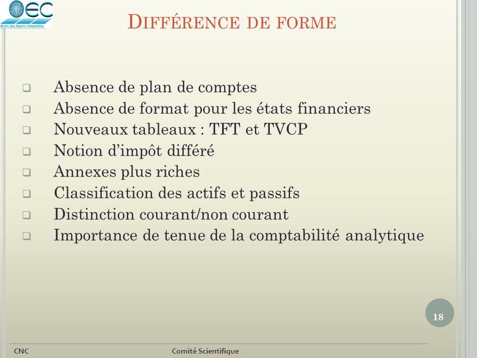 18 CNC Comité Scientifique D IFFÉRENCE DE FORME  Absence de plan de comptes  Absence de format pour les états financiers  Nouveaux tableaux : TFT e