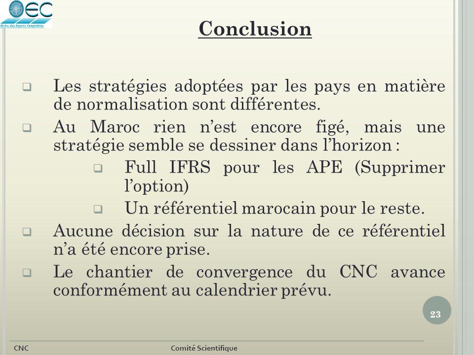 23 CNC Comité Scientifique  Les stratégies adoptées par les pays en matière de normalisation sont différentes.  Au Maroc rien n'est encore figé, mai