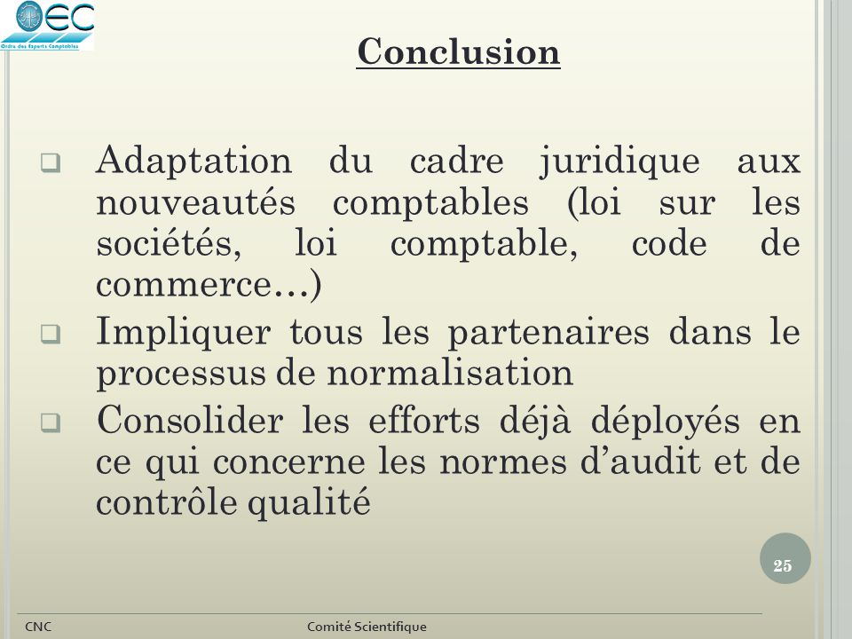 25 CNC Comité Scientifique  Adaptation du cadre juridique aux nouveautés comptables (loi sur les sociétés, loi comptable, code de commerce…)  Impliq