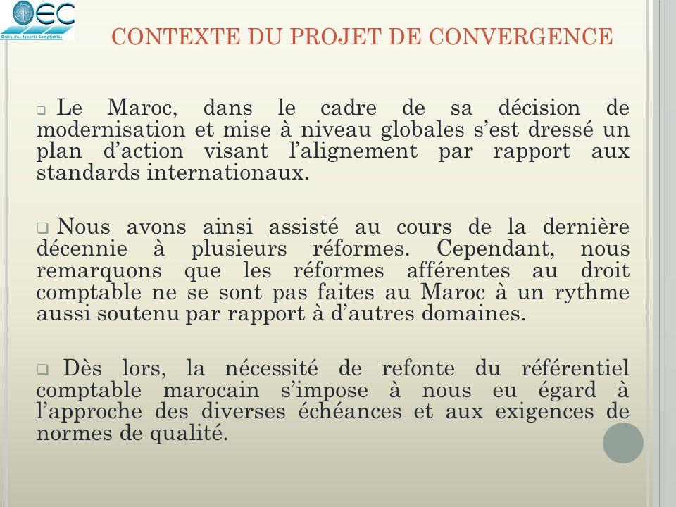  Le Maroc, dans le cadre de sa décision de modernisation et mise à niveau globales s'est dressé un plan d'action visant l'alignement par rapport aux