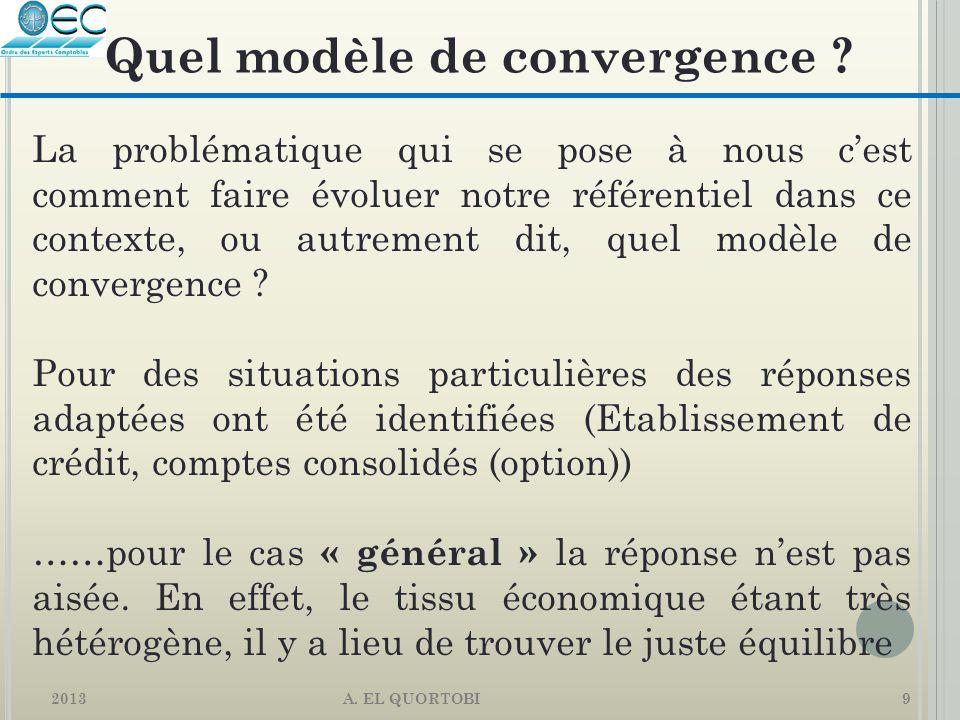 2013 A. EL QUORTOBI9 La problématique qui se pose à nous c'est comment faire évoluer notre référentiel dans ce contexte, ou autrement dit, quel modèle