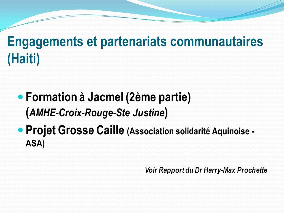 Engagements et partenariats communautaires (Haiti) Formation à Jacmel (2ème partie) ( AMHE-Croix-Rouge-Ste Justine ) Projet Grosse Caille (Association solidarité Aquinoise - ASA) Voir Rapport du Dr Harry-Max Prochette