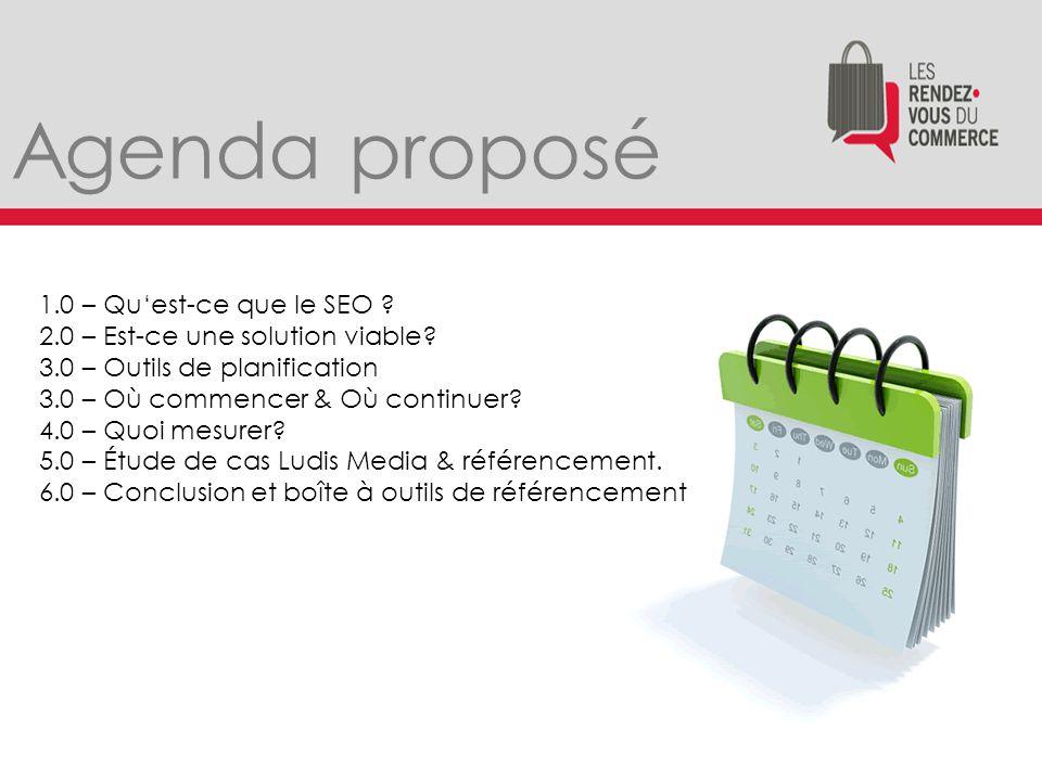 Agenda proposé 1.0 – Qu'est-ce que le SEO . 2.0 – Est-ce une solution viable.