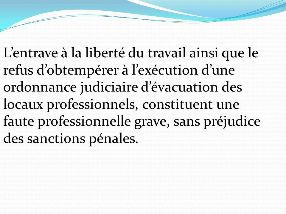 L'entrave à la liberté du travail ainsi que le refus d'obtempérer à l'exécution d'une ordonnance judiciaire d'évacuation des locaux professionnels, co