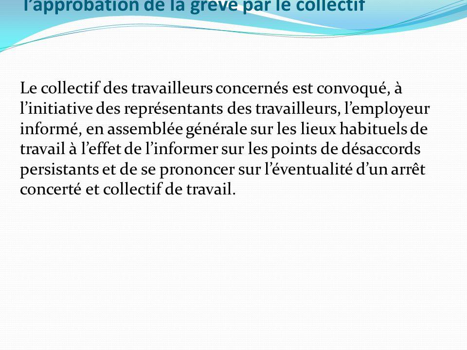l'approbation de la grève par le collectif Le collectif des travailleurs concernés est convoqué, à l'initiative des représentants des travailleurs, l'