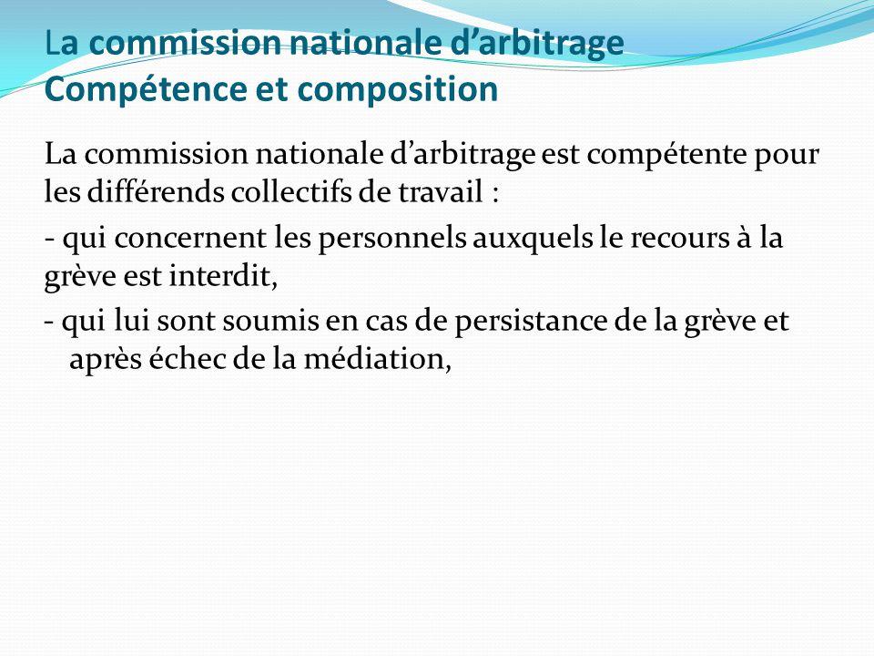 La commission nationale d'arbitrage Compétence et composition La commission nationale d'arbitrage est compétente pour les différends collectifs de tra