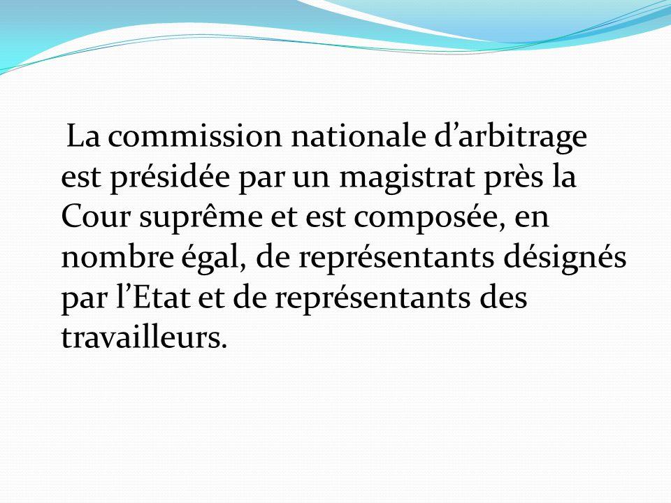La commission nationale d'arbitrage est présidée par un magistrat près la Cour suprême et est composée, en nombre égal, de représentants désignés par