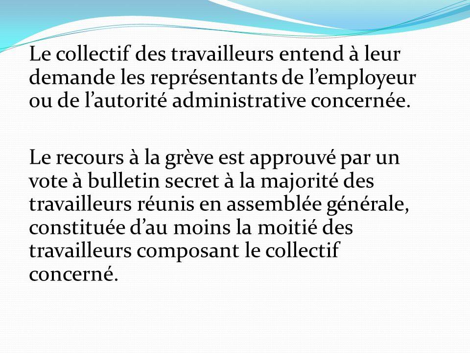 Le collectif des travailleurs entend à leur demande les représentants de l'employeur ou de l'autorité administrative concernée. Le recours à la grève