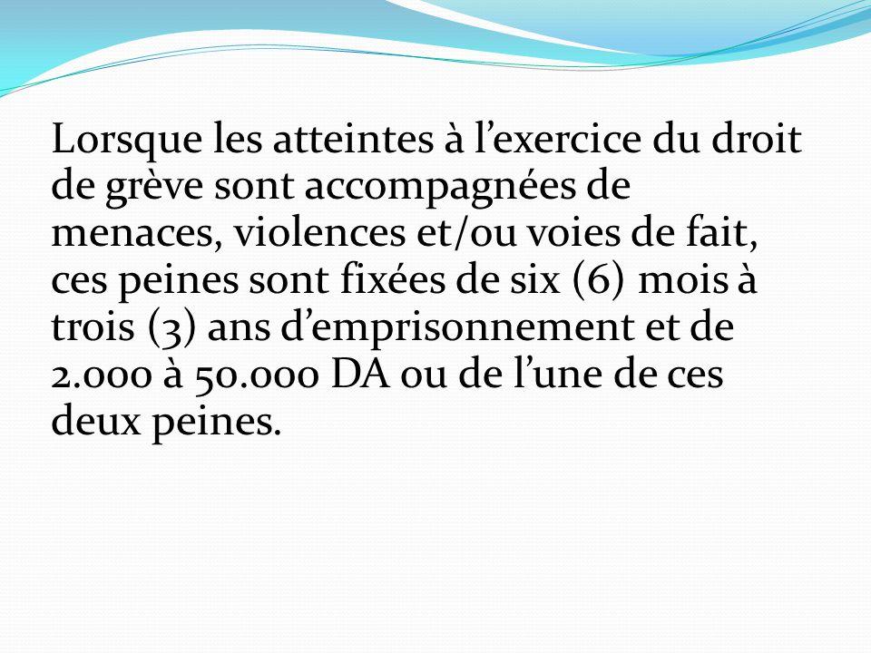 Lorsque les atteintes à l'exercice du droit de grève sont accompagnées de menaces, violences et/ou voies de fait, ces peines sont fixées de six (6) mo