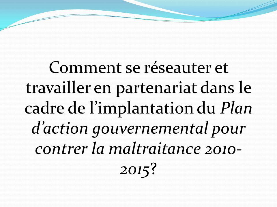 Comment se réseauter et travailler en partenariat dans le cadre de l'implantation du Plan d'action gouvernemental pour contrer la maltraitance 2010- 2015