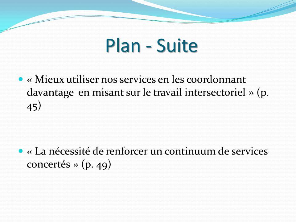 Plan - Suite « Mieux utiliser nos services en les coordonnant davantage en misant sur le travail intersectoriel » (p.