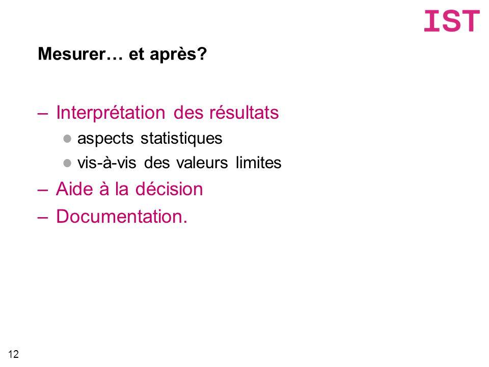 Mesurer… et après? –Interprétation des résultats aspects statistiques vis-à-vis des valeurs limites –Aide à la décision –Documentation. 12