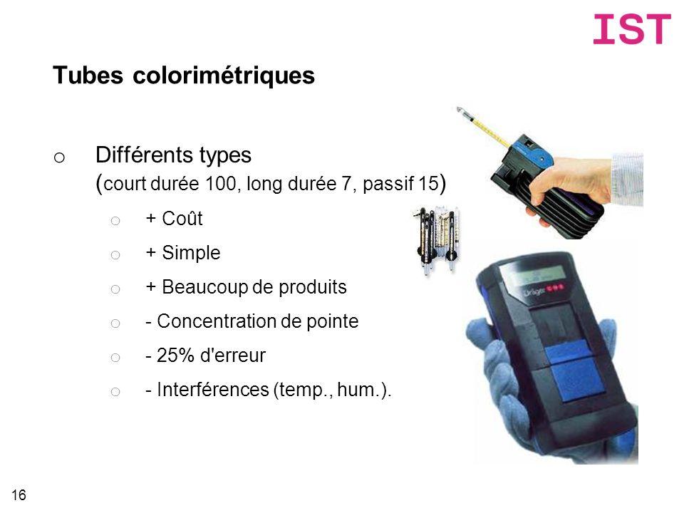 Tubes colorimétriques 16 o Différents types ( court durée 100, long durée 7, passif 15 ) o + Coût o + Simple o + Beaucoup de produits o - Concentratio