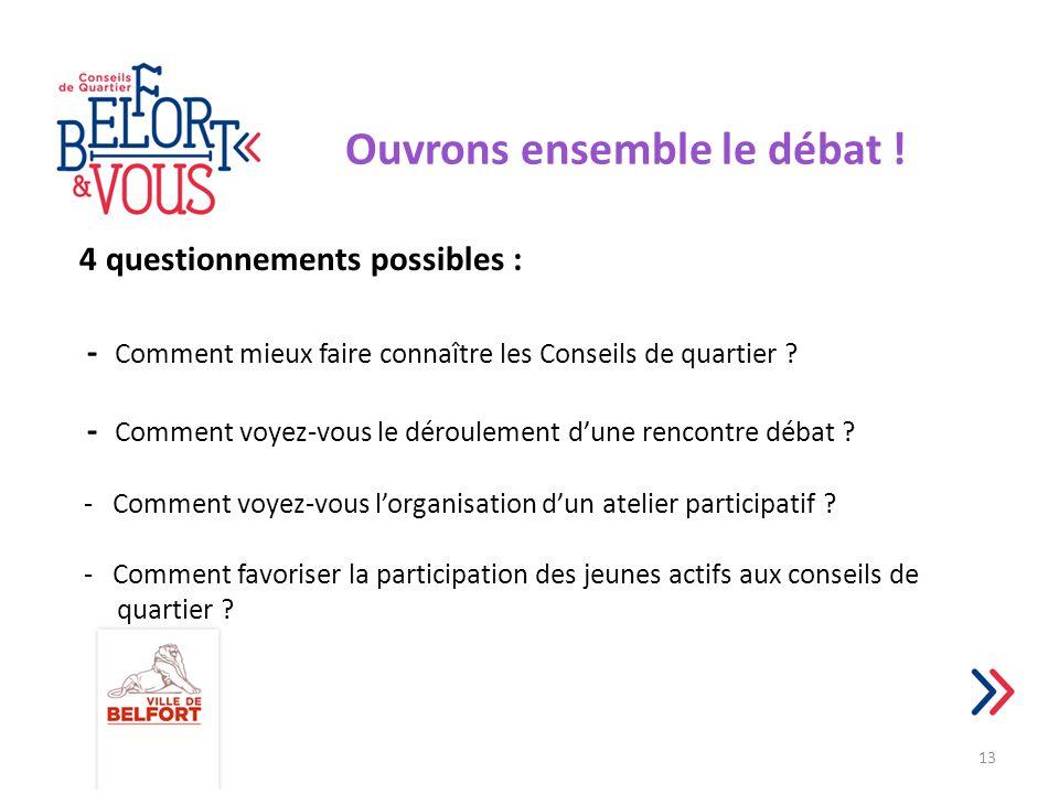 Ouvrons ensemble le débat ! 4 questionnements possibles : - Comment mieux faire connaître les Conseils de quartier ? - Comment voyez-vous le dérouleme