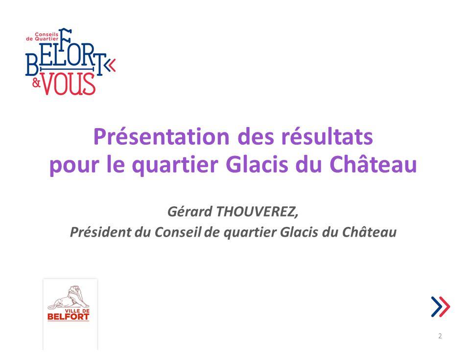 Présentation des résultats pour le quartier Glacis du Château Gérard THOUVEREZ, Président du Conseil de quartier Glacis du Château 2