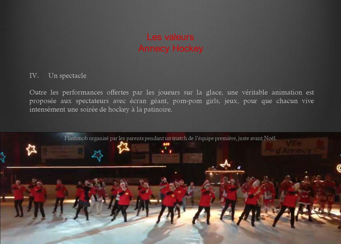 IV.Un spectacle Outre les performances offertes par les joueurs sur la glace, une véritable animation est proposée aux spectateurs avec écran géant, p
