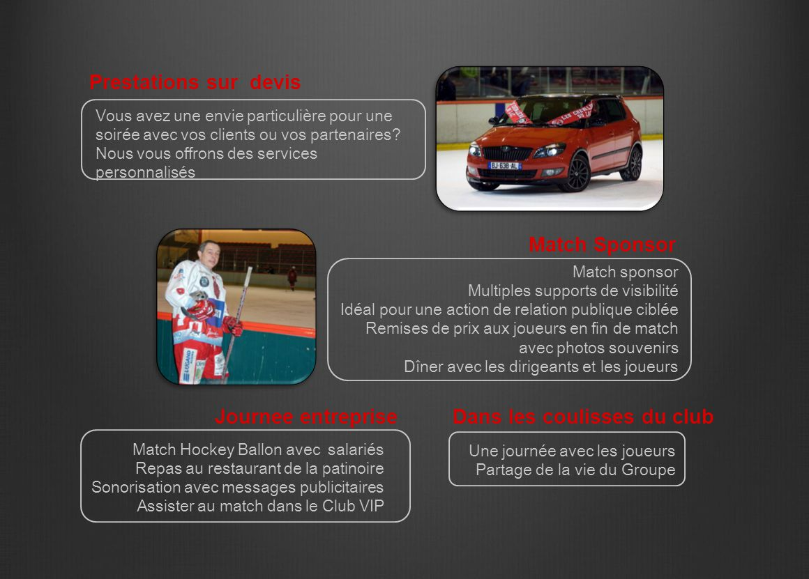 Match sponsor Multiples supports de visibilité Idéal pour une action de relation publique ciblée Remises de prix aux joueurs en fin de match avec phot