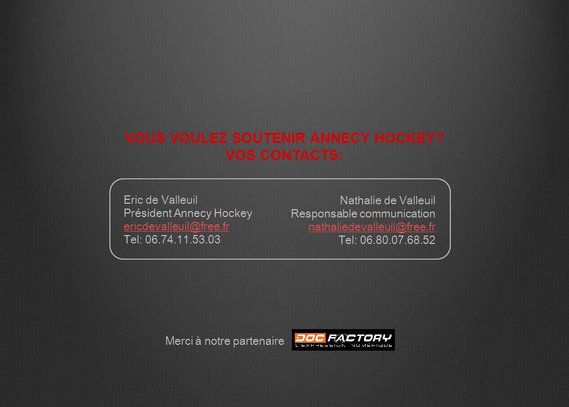 Eric de Valleuil Président Annecy Hockey ericdevalleuil@free.fr Tel: 06.74.11.53.03 VOUS VOULEZ SOUTENIR ANNECY HOCKEY? VOS CONTACTS: Nathalie de Vall