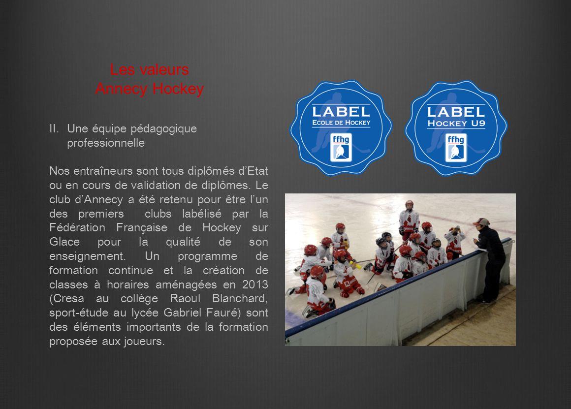 II.Une équipe pédagogique professionnelle Nos entraîneurs sont tous diplômés d'Etat ou en cours de validation de diplômes. Le club d'Annecy a été rete