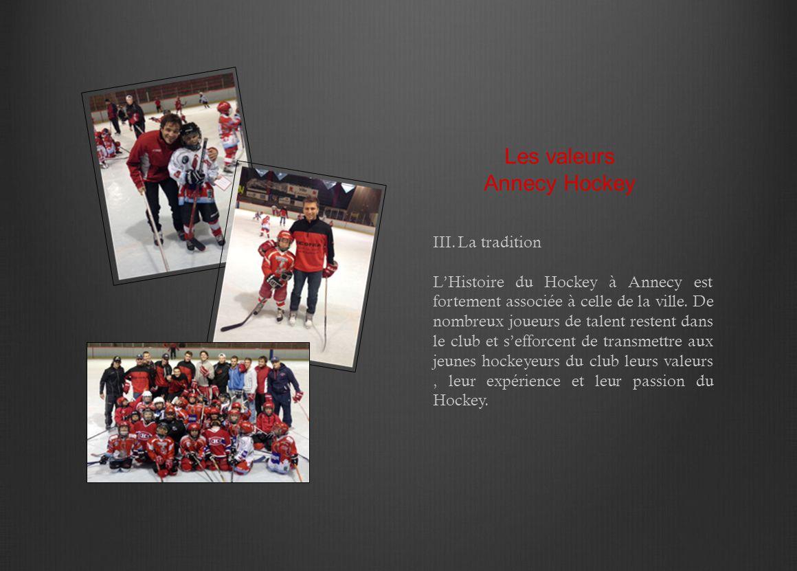 III.La tradition L'Histoire du Hockey à Annecy est fortement associée à celle de la ville. De nombreux joueurs de talent restent dans le club et s'eff