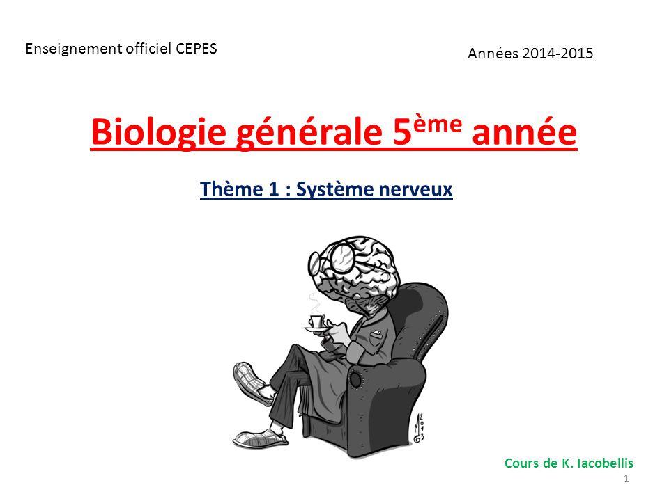 Biologie générale 5 ème année Thème 1 : Système nerveux Années 2014-2015 Enseignement officiel CEPES Cours de K. Iacobellis 1