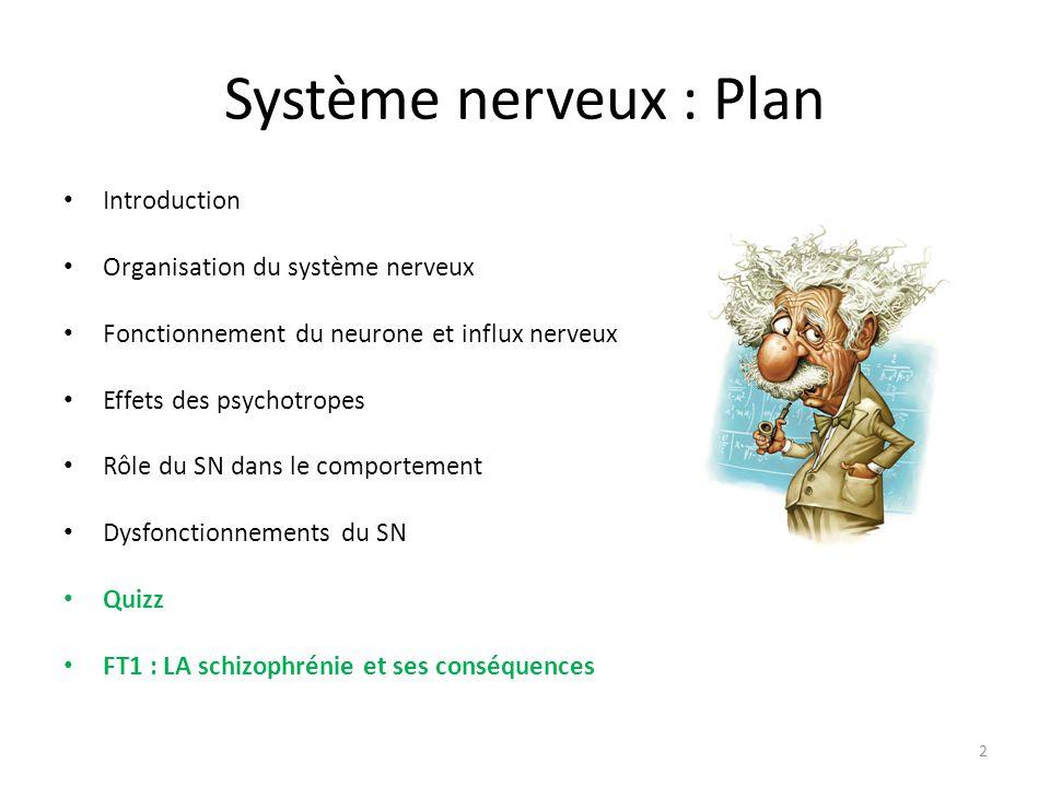 Système nerveux : Plan Introduction Organisation du système nerveux Fonctionnement du neurone et influx nerveux Effets des psychotropes Rôle du SN dan