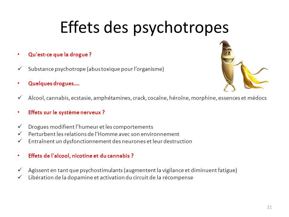 Effets des psychotropes Qu'est-ce que la drogue ? Substance psychotrope (abus toxique pour l'organisme) Quelques drogues…. Alcool, cannabis, ecstasie,