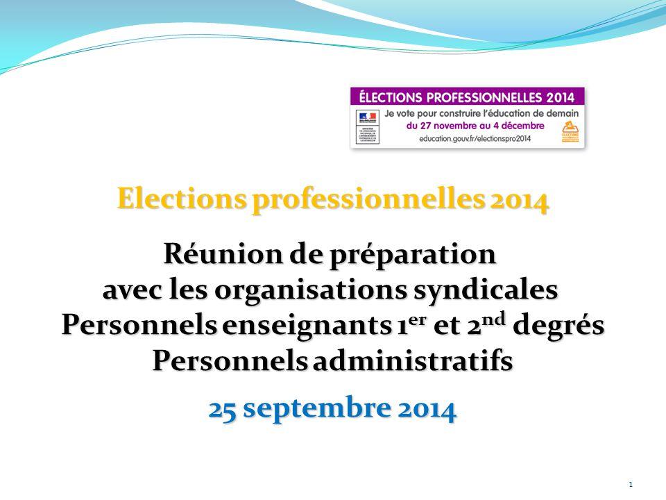 1 Elections professionnelles 2014 Réunion de préparation avec les organisations syndicales Personnels enseignants 1 er et 2 nd degrés Personnels admin
