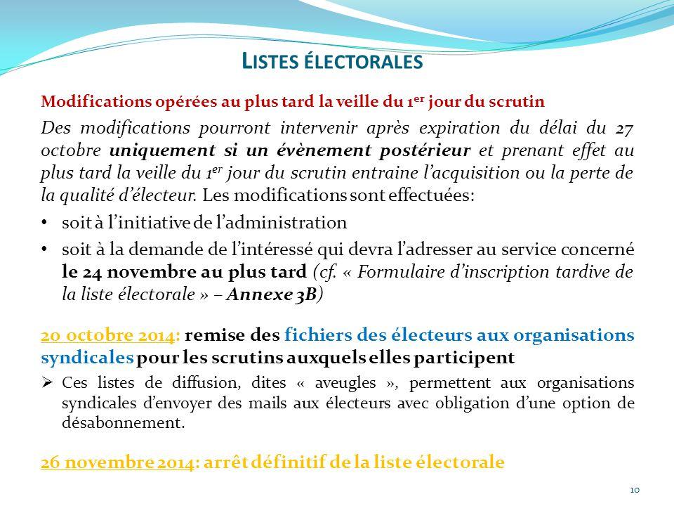 10 Modifications opérées au plus tard la veille du 1 er jour du scrutin Des modifications pourront intervenir après expiration du délai du 27 octobre
