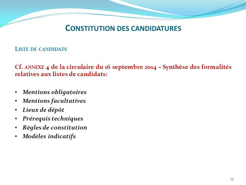 12 L ISTE DE CANDIDATS Cf. ANNEXE 4 de la circulaire du 16 septembre 2014 – Synthèse des formalités relatives aux listes de candidats: Mentions obliga