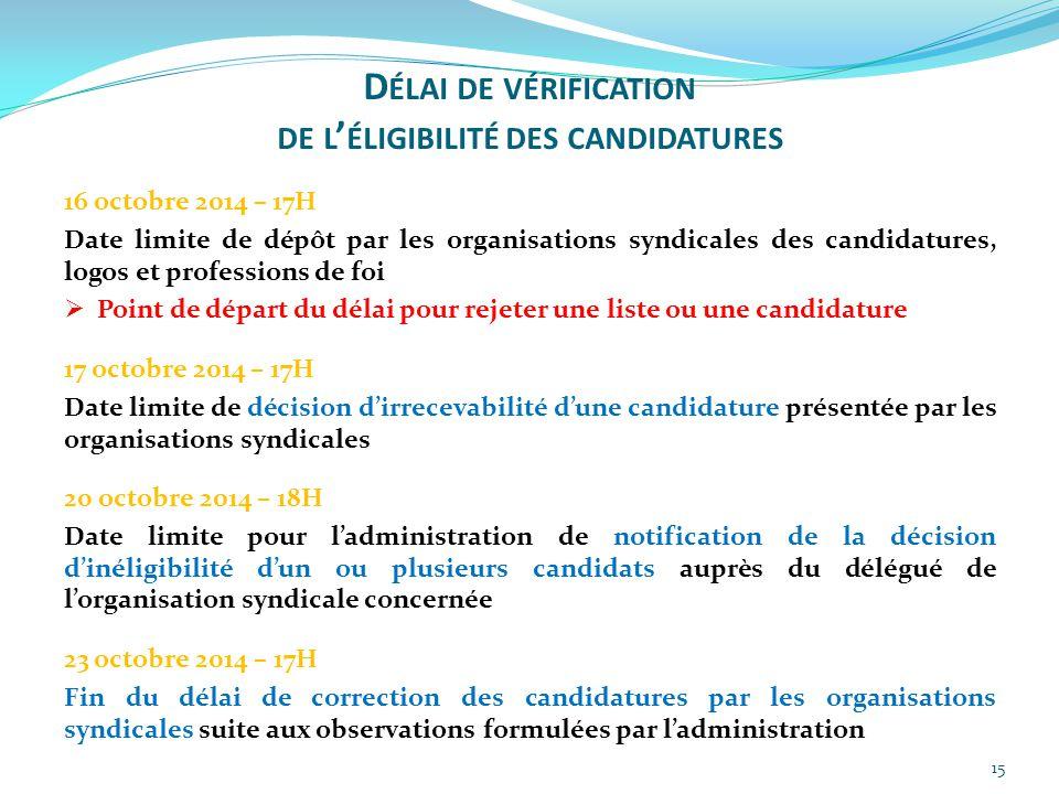 15 16 octobre 2014 – 17H Date limite de dépôt par les organisations syndicales des candidatures, logos et professions de foi  Point de départ du déla